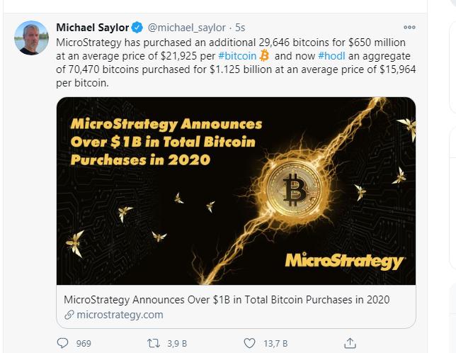 MicroStrategy, 2020'de 1 Milyar Dolar Bitcoin Satın Aldığını Açıkladı